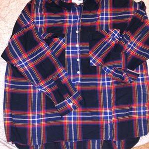 Boyfriend cut plus size plaid shirt